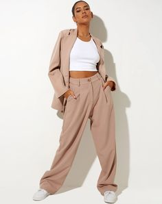 Dusty Purple High Waist Wide Leg Tailored Trousers   Sakila – motelrocks.com Trousers Women Outfit, Blazer Outfits, Blazer Dress, Casual Outfits, Tailored Trousers, Wide Leg Trousers, Spring Wear, S Models, Smart Casual
