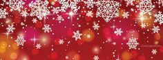 Red and White Snow Flakes Facebook Cover