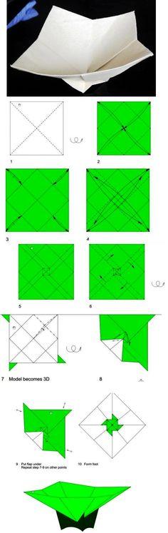 Faltanleitung für eine Papierschale - leider ohne Herkunftsnachweis, daher von Pinner gepinnt.