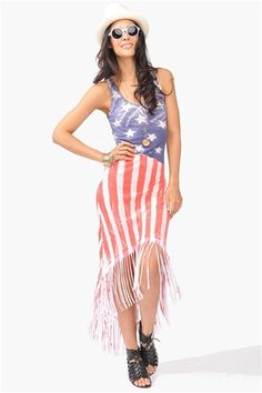 American Fringe Dress-grab this for July 4th or a #festival Get 10% off http://www.studentrate.com/miami/get-miami-student-deals/Necessary-Clothing-Student-Discount--/0