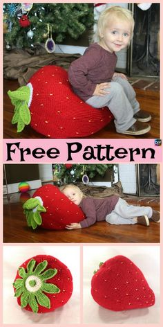 Crochet Giant Strawberry Pillow – Free Pattern #freecrochetpatterns #pillow #strawberry