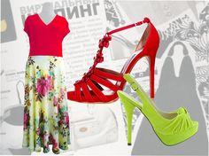 Платье с шифоновой юбкой для полных женщин с  красным верхом