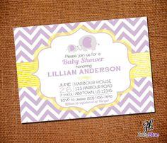 Elephant Baby Shower Invitation Baby Mama Yellow Purple Lavender Chevron Zig Zag Stripes Typographic Invitation- Printable Digital File