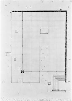 Sverre Fehn, Pavillon Nordique a Venice, Venice, Italy, 1962 Tectonic Architecture, Conceptual Architecture, Modern Architecture Design, Architecture Drawings, Memorial Architecture, Architecture Today, Scandinavian Architecture, Plan Sketch, Construction Drawings