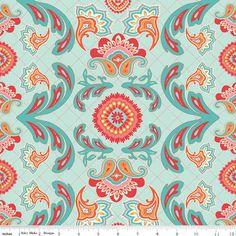Aqua Red and Orange Damask Flourish Cotton Fabric, Avignon by Emily Taylor for Riley Blake, Main Print in Blue, 1 yard