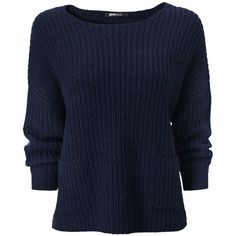 Gina Tricot - Maja knitted sweater Dk navy/dk blue (5037) (115 VEF) ❤ liked on Polyvore featuring tops, sweaters, shirts, jumpers, blue top, navy jumper, blue jumper, dk and navy blue jumper