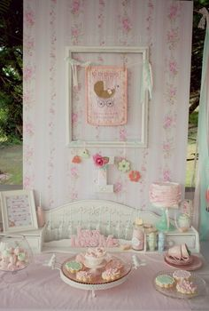 Shabby Pink and Mint Baby Shower! See more party ideas at CatchMyParty.com!