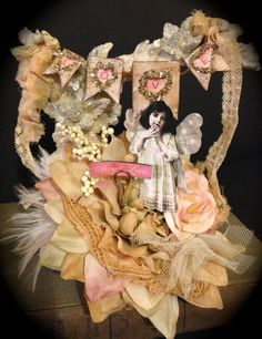 Shabby Valentine Centerpiece Fairy with Polka by ThePokeyPoodle