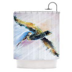 """Kess InHouse Josh Serafin """"Overhead"""" Pastel Bird Shower Curtain"""