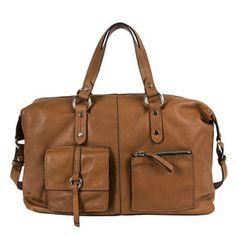 Bolso de mano en color cuero y acabado en piel de vacuno. Un bolso muy casual, con doble asa y convertible en bandolera. #bolsodepiel #bolsomarron #bridas #clenapal #primavera2014