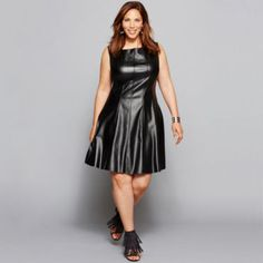 Danny & Nicole® Sleeveless Seamed Faux-Leather Fit-and-Flare Dress - Plus  found at @JCPenney