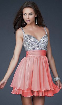 Short Prom Dresses with Straps and Beads - Cheap