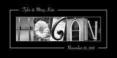 Wedding Sign - LAST Name Photo Art -  Black and White Print- 10x20 Unframed. $29.00, via Etsy.