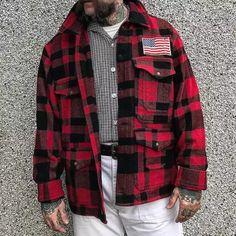 Classic Fashion Plaid Multi-Pocket Jacket,Jackets Collar Top, Shirt Shop, Denim Shirt, Classic Style, Flannel, Button Up Shirts, Plaid, Shirt Dress, Tees