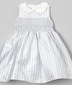 Silk Stripe Smocked Dress