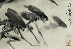 Chinese ink painting of Alien xenomorph in the style of Chinese painter Qi Baishi Strange Art Alien, Alien Film, Alien Alien, Japanese Painting, Chinese Painting, Japanese Art, Japanese Style, Japanese Watercolor, Chinese Style