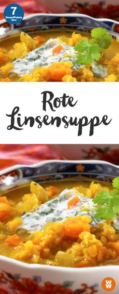 Rote Linsensuppe (Dahl Shaba) | 4 Portionen, 7 SmartPoints/Portion, Weight Watchers, fertig in 35 min.