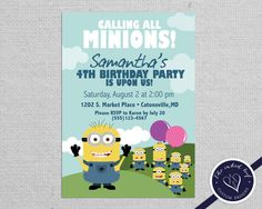 Despicable Me Inspired Printable Minion Birthday Party Invitation Design - featuring Gru's Minions - from The Inked Leaf on Etsy