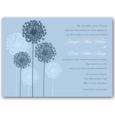 Dandelions Powder Blue Wedding Invitations
