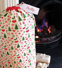 Scandi Christmas Sack With Personalised Tag