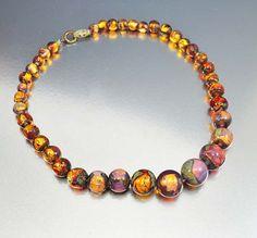 Gold Czech Fire Opal Foil Glass Bead Necklace Vintage Art Deco Jewelry Antique Jewelry
