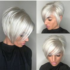 High-Shine Sleek Silver Pixie Bob - 100 Mind-Blowing Short Hairstyles for Fine Hair - The Trending Hairstyle - Page 32 Short Thin Hair, Short Hair With Layers, Short Hair Cuts, Short Hair Styles, Silver Hair Styles, Pixie Hairstyles, Straight Hairstyles, Layered Hairstyles, Sleek Hairstyles