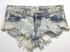 One Teaspoon Bonitas Acid Washed Destroyed Finish Denim Shorty Shorts Sz 28  | eBay