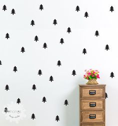 Pine Tree Wall Decal / Pine Trees Sticker / Kids wall decoration / Home Decor / Modern Wall Decal