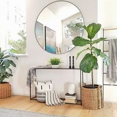 Here are some great round mirror ideas for your home's entryway, bedroom and living room. These round mirrors are great additions to make your home look more modern and interesting! Living Room Mirrors, Living Room Bedroom, Living Room Furniture, Living Room Decor, Bedroom Decor, Large Bedroom Mirror, Mirror Room, Bedroom Mirrors, Hallway Mirror