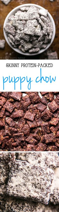 Skinny Protein-Packed Puppy Chow {Muddy Buddies} -- sweet, crunchy & SO good!! This recipe doesn't taste healthy at all!