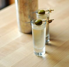 Dirty martini shooters. Not totally sold on this (martinis should be sipped, not shotgunned), but could be cool for a party.