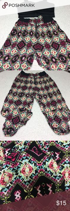 Material Girl Patterned Pants Lightly worn. 100% Rayon. Long pants, bunched at the ankles. Best paired with sandals and a crop top. Material Girl Pants Skinny