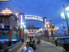 Pleasure Pier Galveston Beach in Texas on the Gulf of Mexico