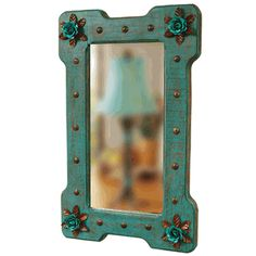 Turquoise Bloom Mirror