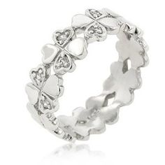 Heart and Shamrocks Eternity Ring - Shamrock Rings: Presents for St. Patrick's Day