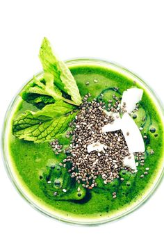 Super Green Shamrock Smoothie   Bananas, spinach, almond milk, dates, mint, almond butter + vanilla yield one vibrantly energizing, ultra green smoothie!