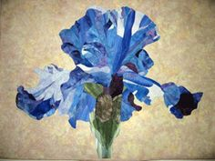"""Iris quilt by Debbie Heller, a student in one of David Taylor's """"Photos to Quilts Pictorial Appliqué"""" workshops"""