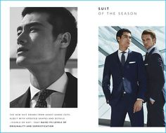 Models Hao Yun Xiang and Shaun DeWet don suiting from Massimo Dutti.
