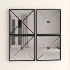 Polaris Large Framed Wall Mirror & Reviews | Joss & Main Set Of 4 Wall Mirrors, Black Wall Mirror, Mirror Set, Frames On Wall, Framed Wall, Construction Materials, Guest Suite, Decorative Pillows, Flooring