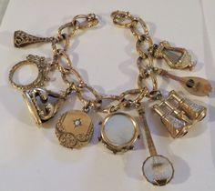 Gorgeous Victorian Gold Filled Locket Fobs Trinkets Charm Etched Bracelet UNIQUE #Victorian #chaincharm