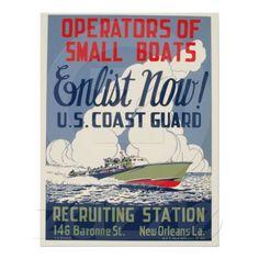 Vintage Coast Guard Enlist Now Boats WPA Poster