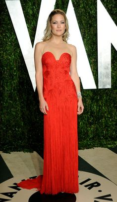 Kate Hudson in Atelier Versace with Tiffany & Co. jewels and Brian Atwood pumps (Vanity Fair Oscar Party 2012)