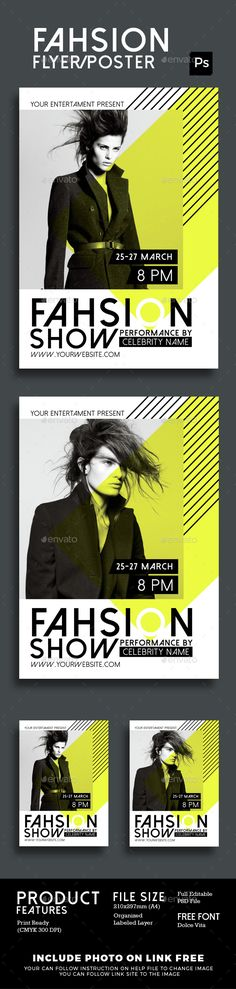 Fashion Show Flyer Poster — Photoshop PSD #simple #glamour • Available here → https://graphicriver.net/item/fashion-show-flyer-poster/15404607?ref=pxcr
