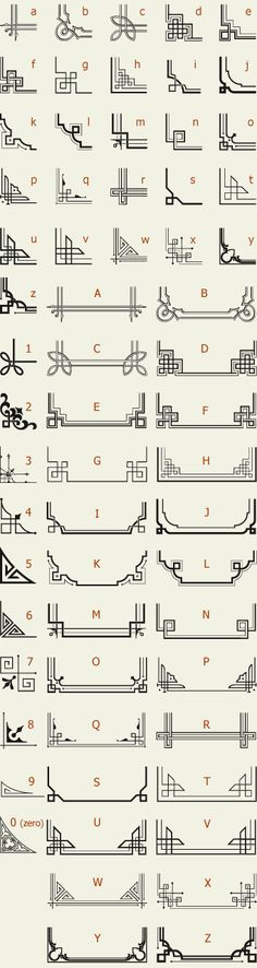 The perfect reference list for Art Deco Letterhead Fonts / LHF Corner Specimens / Scrolls and Borders Motif Art Deco, Art Deco Design, Art Deco Borders, Art Deco Font, Art Deco Typography, Art Deco Pattern, Borders For Paper, Pop Design, Vintage Typography