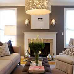 love this look for the living room. grey walls = to die for. love this look for the living room. grey walls = to die for. love this look for the living room. grey walls = to die for. Chic Living Room, Living Room Grey, Home Living Room, Living Room Designs, Living Room Decor, Living Spaces, Small Living, Cozy Living, Grey Room