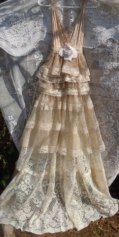 Lace Wedding Dress boho  nude cream  tiered  by vintageopulence