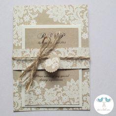 Paper Lace Wedding Invitation and RSVP set - SAMPLE. £3.00, via Etsy.