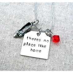 Items similar to Wizard Of Oz There's No Place Like Home Quote... ❤ liked on Polyvore featuring jewelry and necklaces