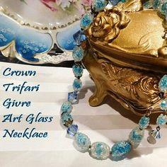 Crown Trifari Givre Art Glass Mid Century Necklace www.etsy.com/listing/483133745