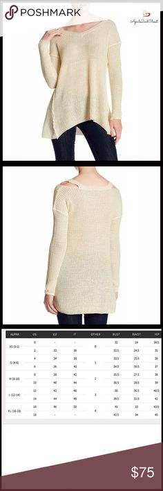 """⭐️⭐️ PULLOVER TUNIC NEW WITH TAGS RETAIL PRICE: $88 SIZING- L = 12-14 Pullover Long Sleeve Tunic Sweater  * Incredibly soft mini waffle loose knit fabric   * V-neck; Cold shoulders style  * Long sleeves & side seams detail    * About 30""""-32"""" long   * A relaxed fit   * Lightweight yet cozy   * A subtly oversized slouchy fit    FABRIC- 55% Cotton, 45% Acrylic  Color- Natural Seed Pearl  Item# SEARCH# boyfriend  No Trades - Offers Considered* Sweaters V-Necks"""